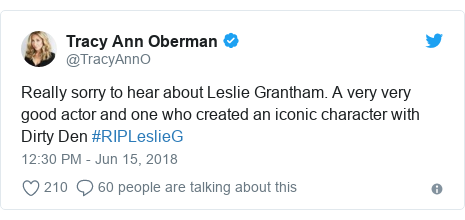 Twitter post by @TracyAnnO: Really sorry to hear about Leslie Grantham. A very very good actor and one who created an iconic character with Dirty Den #RIPLeslieG