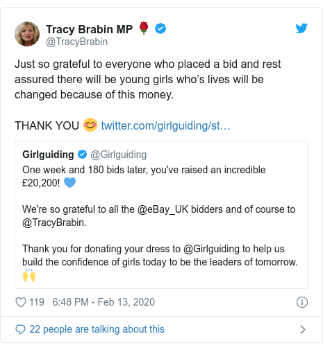 Twitter post by @TracyBrabin: Just so grateful to everyone who placed a bid and rest assured there will be young girls who's lives will be changed because of this money.THANK YOU 😊