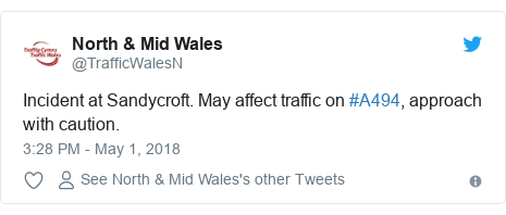 Twitter post by @TrafficWalesN: Incident at Sandycroft. May affect traffic on #A494, approach with caution.