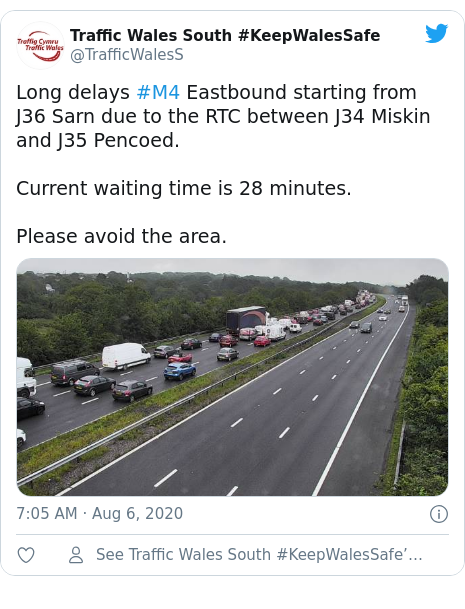 Twitter post by @TrafficWalesS: Long delays #M4 Eastbound starting from J36 Sarn due to the RTC between J34 Miskin and J35 Pencoed.Current waiting time is 28 minutes.Please avoid the area.