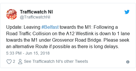 Twitter post by @TrafficwatchNI: Update  Leaving #Belfast towards the M1  Following a Road Traffic Collision on the A12 Westlink is down to 1 lane towards the M1 under Grosvenor Road Bridge. Please seek an alternative Route if possible as there is long delays.