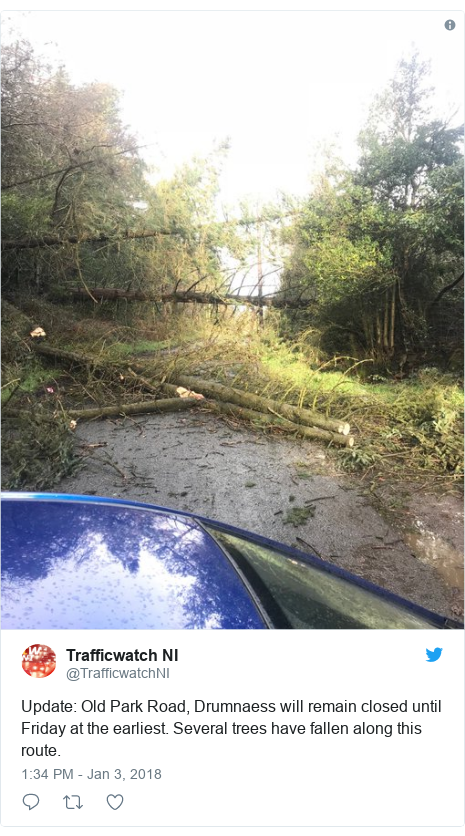 Twitter post by @TrafficwatchNI: Update  Old Park Road, Drumnaess will remain closed until Friday at the earliest. Several trees have fallen along this route.
