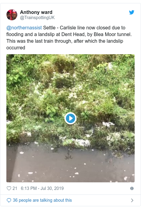 Twitter post by @TrainspottingUK: @northernassist Settle - Carlisle line now closed due to flooding and a landslip at Dent Head, by Blea Moor tunnel. This was the last train through, after which the landslip occurred