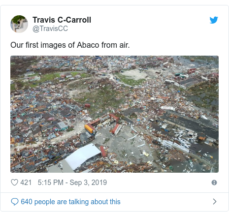 Twitter post by @TravisCC: Our first images of Abaco from air.