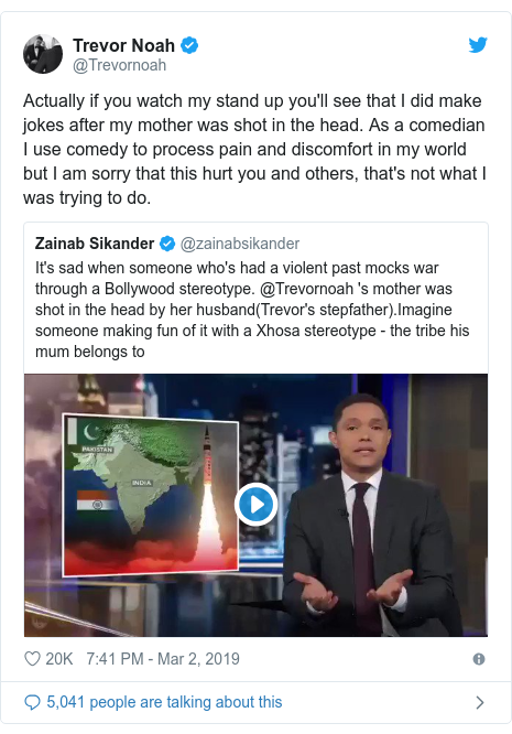Twitter post by @Trevornoah: Actually if you watch my stand up you'll see that I did make jokes after my mother was shot in the head. As a comedian I use comedy to process pain and discomfort in my world but I am sorry that this hurt you and others, that's not what I was trying to do.