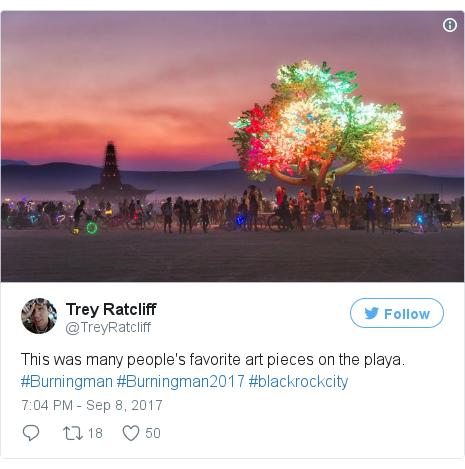 Twitter post by @TreyRatcliff: This was many people's favorite art pieces on the playa. #Burningman #Burningman2017 #blackrockcity pic.twitter.com/GOpIor1HGr