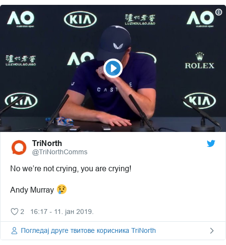 Twitter post by @TriNorthComms: No we're not crying, you are crying!Andy Murray 😢