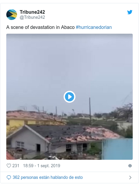Publicación de Twitter por @Tribune242: A scene of devastation in Abaco #hurricanedorian