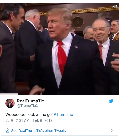 Twitter post by @TrumpTie3: Weeeeeee, look at me go! #TrumpTie