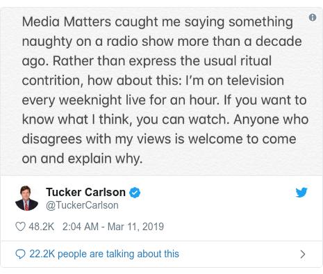 Twitter post by @TuckerCarlson: