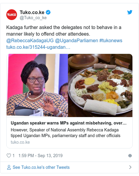 Ujumbe wa Twitter wa @Tuko_co_ke: Kadaga further asked the delegates not to behave in a manner likely to offend other attendees. @RebeccaKadagaUG @UgandaParliamen #tukonews