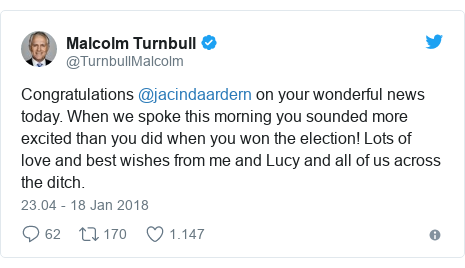 Twitter pesan oleh @TurnbullMalcolm: Congratulations @jacindaardern on your wonderful news today. When we spoke this morning you sounded more excited than you did when you won the election! Lots of love and best wishes from me and Lucy and all of us across the ditch.