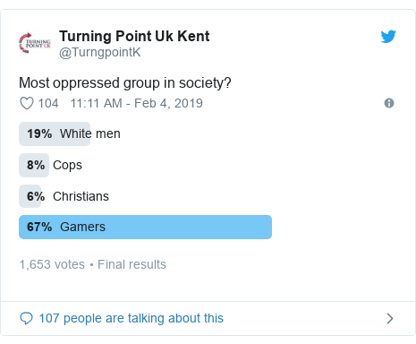 Twitter post by @TurngpointK: Most oppressed group in society?