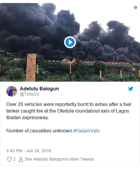 Twitter post by @Tutsy22: Over 20 vehicles were reportedly burnt to ashes after a fuel tanker caught fire at the Otedola roundabout axis of Lagos Ibadan expressway.Number of casualties unknown.#NaijaVirals