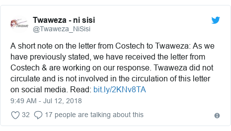 Ujumbe wa Twitter wa @Twaweza_NiSisi: A short note on the letter from Costech to Twaweza  As we have previously stated, we have received the letter from Costech & are working on our response. Twaweza did not circulate and is not involved in the circulation of this letter on social media. Read