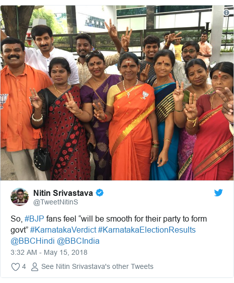 """Twitter post by @TweetNitinS: So, #BJP fans feel """"will be smooth for their party to form govt"""" #KarnatakaVerdict #KarnatakaElectionResults @BBCHindi @BBCIndia"""