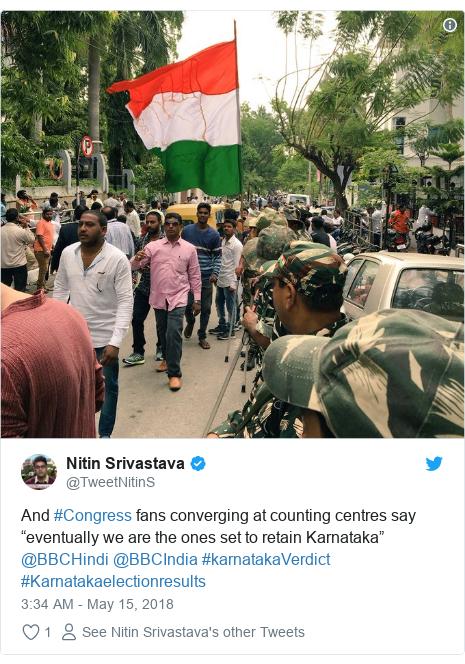 "Twitter post by @TweetNitinS: And #Congress fans converging at counting centres say ""eventually we are the ones set to retain Karnataka"" @BBCHindi @BBCIndia #karnatakaVerdict #Karnatakaelectionresults"