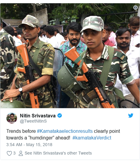 """Twitter post by @TweetNitinS: Trends before #Karnatakaelectionresults clearly point towards a """"humdinger"""" ahead!  #karnatakaVerdict"""