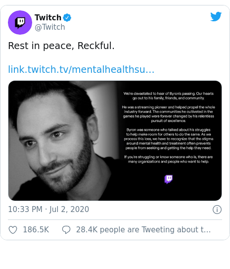 Twitter post by @Twitch: Rest in peace, Reckful.