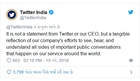 Twitter post by @TwitterIndia: It is not a statement from Twitter or our CEO, but a tangible reflection of our company's efforts to see, hear, and understand all sides of important public conversations thathappen on our service around the world.