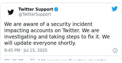 ٹوئٹر پوسٹس @TwitterSupport کے حساب سے: We are aware of a security incident impacting accounts on Twitter. We are investigating and taking steps to fix it. We will update everyone shortly.
