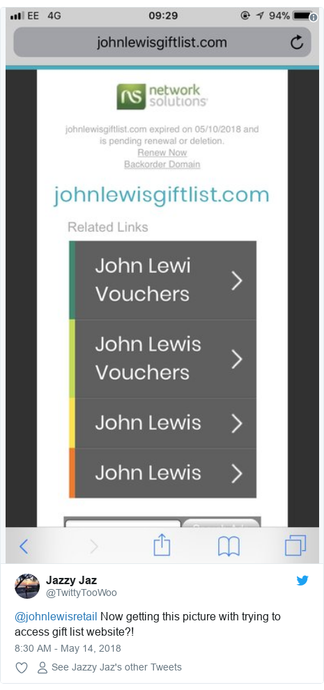 Twitter post by @TwittyTooWoo: @johnlewisretail Now getting this picture with trying to access gift list website?!  horizonasia