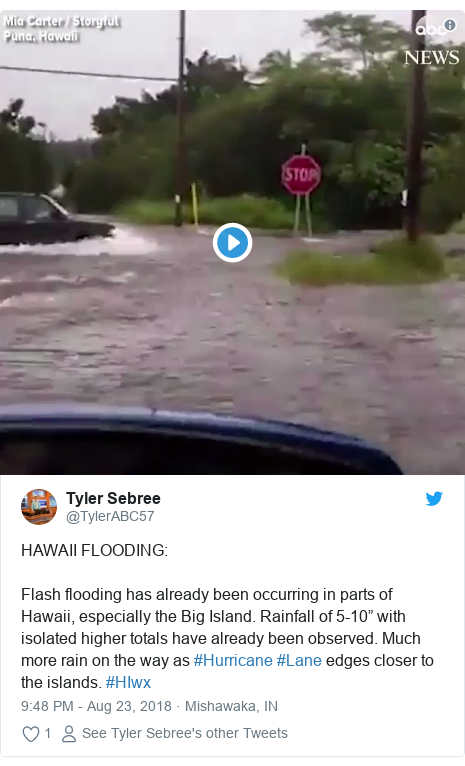"""Twitter post by @TylerABC57: HAWAII FLOODING Flash flooding has already been occurring in parts of Hawaii, especially the Big Island. Rainfall of 5-10"""" with isolated higher totals have already been observed. Much more rain on the way as #Hurricane #Lane edges closer to the islands. #HIwx"""