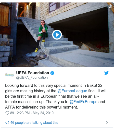 @UEFA_Foundation tərəfindən edilən Twitter paylaşımı: Looking forward to this very special moment in Baku! 22 girls are making history at the @EuropaLeague final. It will be the first time in a European final that we see an all-female mascot line-up! Thank you to @FedExEurope and AFFA for delivering this powerful moment.