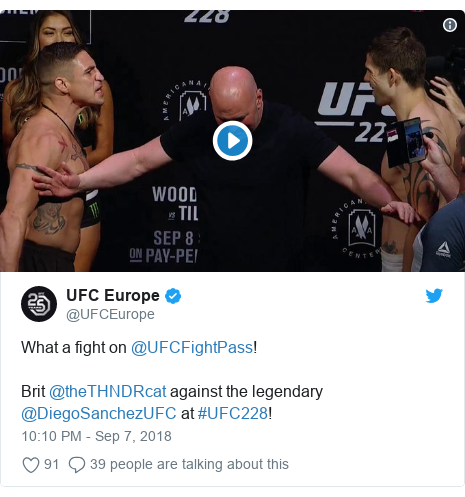 Twitter post by @UFCEurope: What a fight on @UFCFightPass!Brit @theTHNDRcat against the legendary @DiegoSanchezUFC at #UFC228!