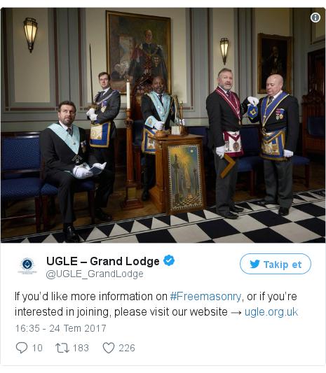@UGLE_GrandLodge tarafından yapılan Twitter paylaşımı: If you'd like more information on #Freemasonry, or if you're interested in joining, please visit our website →