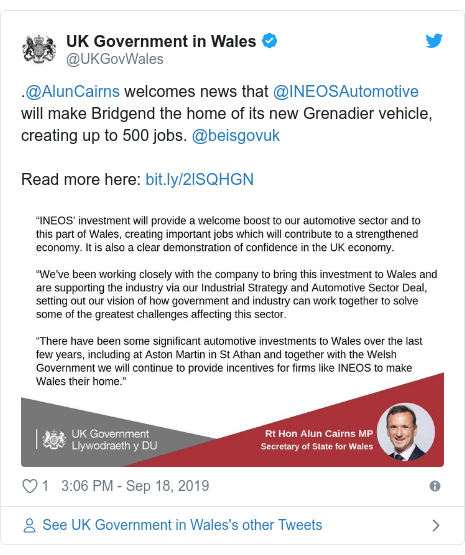 Twitter post by @UKGovWales: .@AlunCairns welcomes news that @INEOSAutomotive will make Bridgend the home of its new Grenadier vehicle, creating up to 500 jobs. @beisgovukRead more here