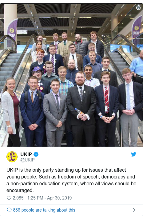 Twitter post by @UKIP: UKIP is the only party standing up for issues that affect young people. Such as freedom of speech, democracy and a non-partisan education system, where all views should be encouraged.