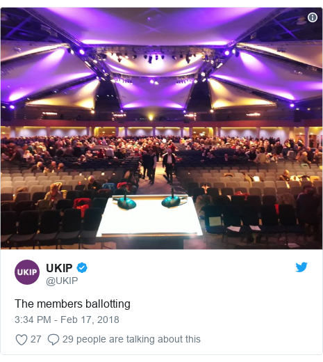 Twitter post by @UKIP: The members ballotting