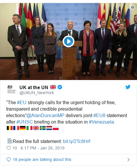 "Twitter post by @UKUN_NewYork: ""The #EU strongly calls for the urgent holding of free, transparent and credible presidential elections""@AlanDuncanMP delivers joint #EU8 statement after #UNSC briefing on the situation in #Venezuela.🇧🇪🇫🇷🇩🇪🇮🇹🇬🇧🇸🇪🇳🇱🇵🇱 📄Read the full statement"