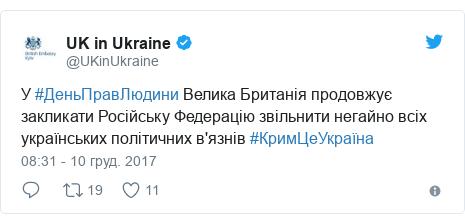 Twitter допис, автор: @UKinUkraine: У #ДеньПравЛюдини Велика Британія продовжує закликати Російську Федерацію звільнити негайно всіх українських політичних в'язнів #КримЦеУкраїна