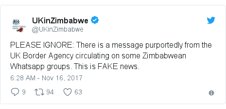 Twitter post by @UKinZimbabwe: PLEASE IGNORE  There is a message purportedly from  the UK Border Agency circulating on some Zimbabwean Whatsapp groups. This is FAKE news.