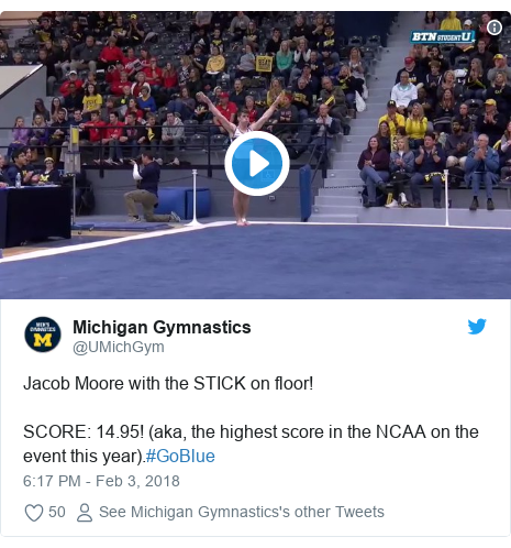 Twitter post by @UMichGym: Jacob Moore with the STICK on floor!SCORE  14.95! (aka, the highest score in the NCAA on the event this year).#GoBlue