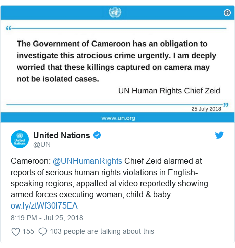 Twitter post by @UN: Cameroon  @UNHumanRights Chief Zeid alarmed at reports of serious human rights violations in English-speaking regions; appalled at video reportedly showing armed forces executing woman, child & baby.
