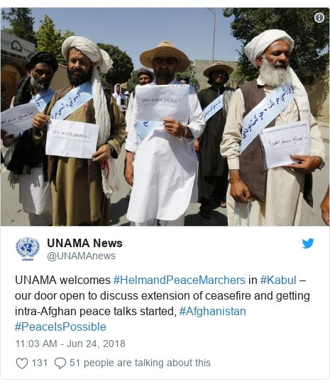 د @UNAMAnews په مټ ټویټر  تبصره : UNAMA welcomes #HelmandPeaceMarchers in #Kabul –our door open to discuss extension of ceasefire and getting intra-Afghan peace talks started, #Afghanistan #PeaceIsPossible