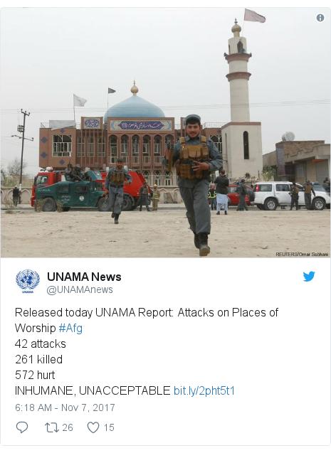 د @UNAMAnews په مټ ټویټر  تبصره : Released today UNAMA Report  Attacks on Places of Worship #Afg42 attacks261 killed572 hurtINHUMANE, UNACCEPTABLE
