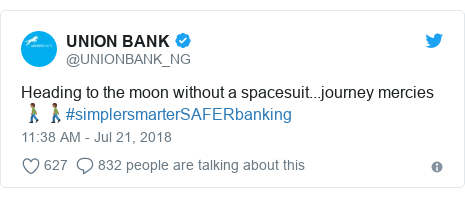 Twitter post by @UNIONBANK_NG: Heading to the moon without a spacesuit...journey mercies🚶🏾♂️🚶🏾♂️#simplersmarterSAFERbanking