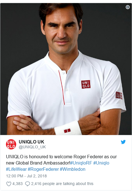 Twitter post by @UNIQLO_UK: UNIQLO is honoured to welcome Roger Federer as our new Global Brand Ambassador!#UniqloRF #Uniqlo #LifeWear #RogerFederer #Wimbledon