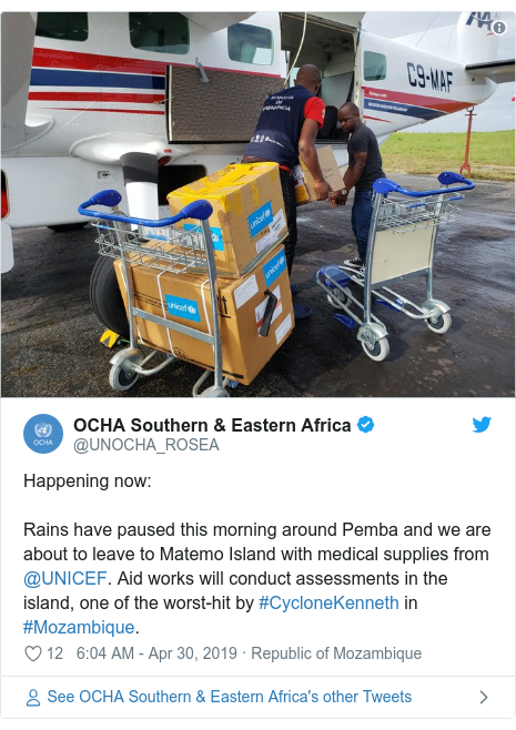 Twitter post by @UNOCHA_ROSEA: Happening now Rains have paused this morning around Pemba and we are about to leave to Matemo Island with medical supplies from @UNICEF. Aid works will conduct assessments in the island, one of the worst-hit by #CycloneKenneth in #Mozambique.
