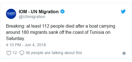 Twitter post by @UNmigration: Breaking  at least 112 people died after a boat carrying around 180 migrants sank off the coast of Tunisia on Saturday.