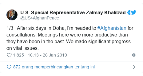 Twitter pesan oleh @US4AfghanPeace: 1/3   After six days in Doha, I'm headed to #Afghanistan for consultations. Meetings here were more productive than they have been in the past. We made significant progress on vital issues.