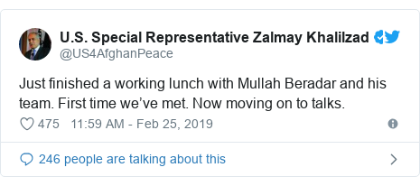 Twitter post by @US4AfghanPeace: Just finished a working lunch with Mullah Beradar and his team. First time we've met. Now moving on to talks.
