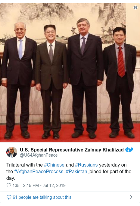 د @US4AfghanPeace په مټ ټویټر  تبصره : Trilateral with the #Chinese and #Russians yesterday on the #AfghanPeaceProcess. #Pakistan joined for part of the day.