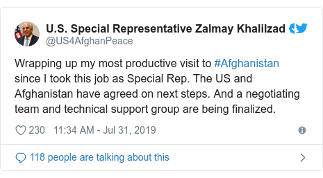 د @US4AfghanPeace په مټ ټویټر  تبصره : Wrapping up my most productive visit to #Afghanistan since I took this job as Special Rep. The US and Afghanistan have agreed on next steps. And a negotiating team and technical support group are being finalized.