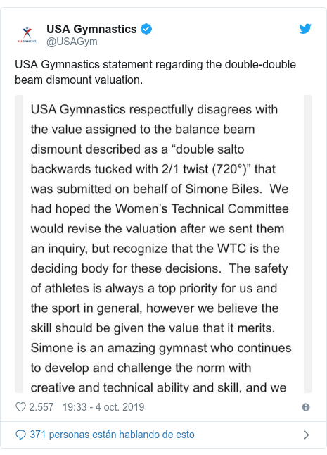 Publicación de Twitter por @USAGym: USA Gymnastics statement regarding the double-double beam dismount valuation.