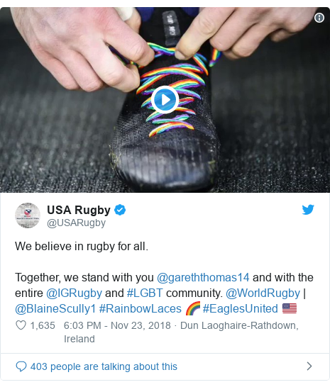Twitter post by @USARugby: We believe in rugby for all.Together, we stand with you @gareththomas14 and with the entire @IGRugby and #LGBT community. @WorldRugby | @BlaineScully1 #RainbowLaces 🌈 #EaglesUnited 🇺🇸